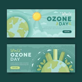 Ensemble de bannières horizontales pour la journée mondiale de l'ozone