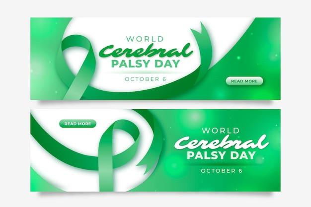 Ensemble de bannières horizontales pour la journée mondiale de la paralysie cérébrale réaliste