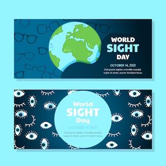 Ensemble de bannières horizontales pour la journée mondiale de la vue dessinés à la main