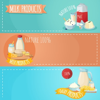 Ensemble de bannières horizontales pour produits laitiers