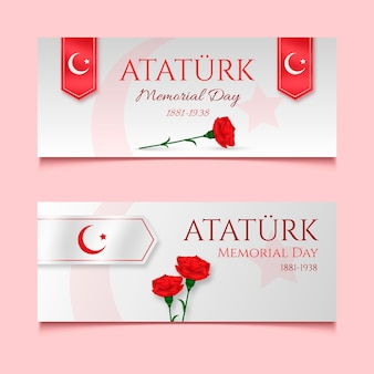 Ensemble de bannières horizontales réalistes du jour commémoratif d'ataturk