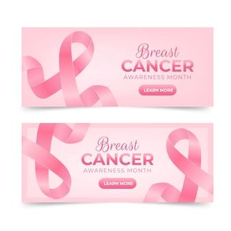 Ensemble de bannières horizontales réalistes pour le mois de sensibilisation au cancer du sein