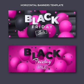Ensemble de bannières horizontales réalistes vendredi noir