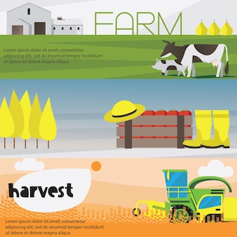 Ensemble de bannières horizontales de récolte agricole isolé