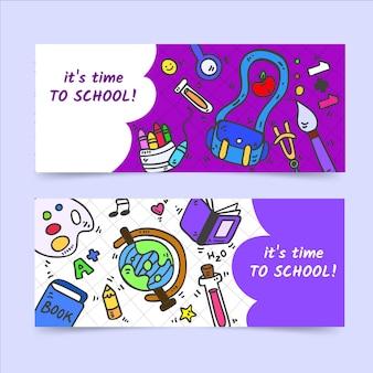 Ensemble de bannières horizontales de retour à l'école dessinés à la main