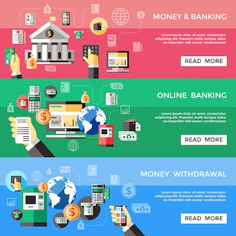 Ensemble de bannières horizontales de services électroniques bancaires