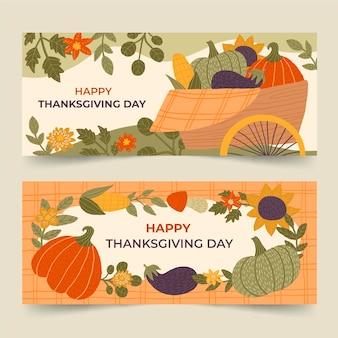 Ensemble de bannières horizontales de thanksgiving dessinés à la main
