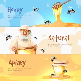 Ensemble de bannières horizontales de vecteur de rucher