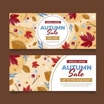Ensemble de bannières horizontales vente automne plat