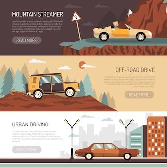 Ensemble de bannières horizontales avec des voitures de tourisme
