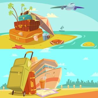 Ensemble de bannières horizontales de voyage
