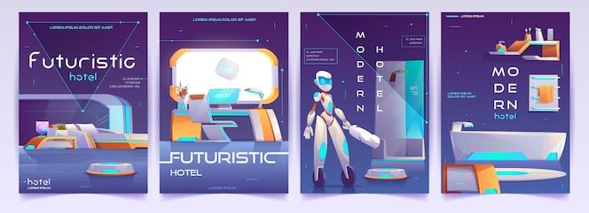 Ensemble de bannières d'hôtel futuriste, affiches d'appartements