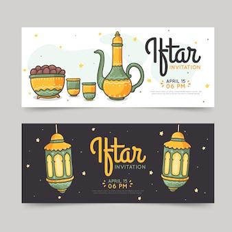 Ensemble de bannières iftar dessinés à la main