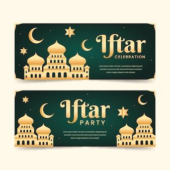 Ensemble De Bannières Iftar Plat Vecteur gratuit