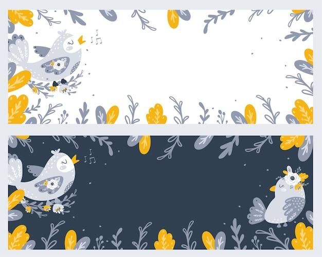 Ensemble de bannières avec illustration mignonne d'oiseaux et de fleurs