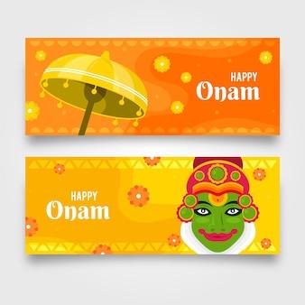 Ensemble de bannières indiennes onam