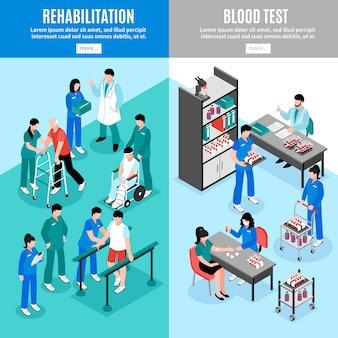 Ensemble de bannières isomériques verticales pour hôpitaux
