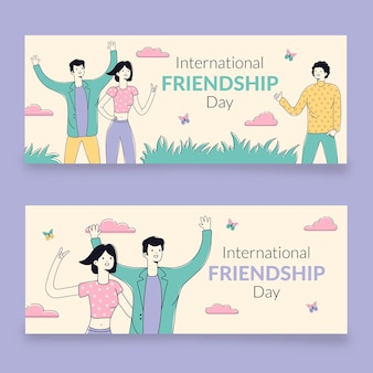 Ensemble de bannières de la journée internationale de l'amitié dessinés à la main