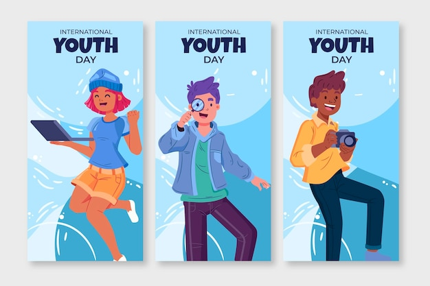 Ensemble de bannières de la journée internationale de la jeunesse dessinés à la main