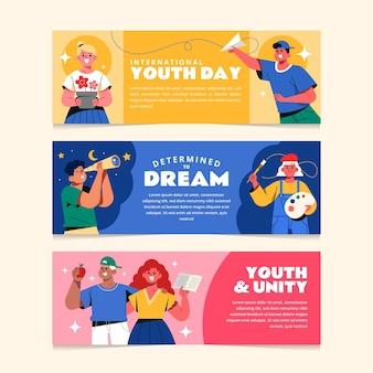 Ensemble de bannières de la journée internationale de la jeunesse