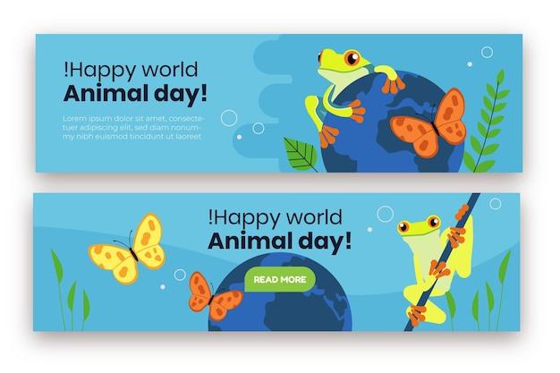 Ensemble de bannières de la journée mondiale des animaux dessinés à la main