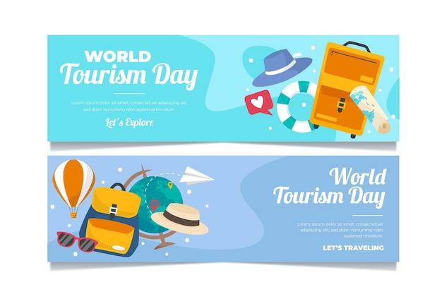 Ensemble de bannières de la journée mondiale du tourisme