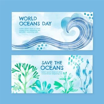 Ensemble de bannières de la journée mondiale des océans aquarelle peinte à la main