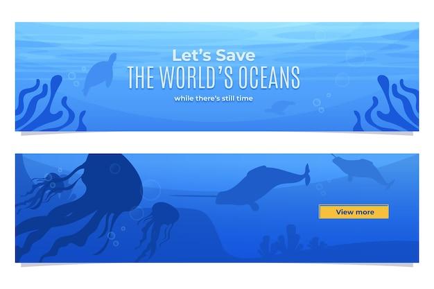 Ensemble de bannières de la journée des océans du monde plat organique