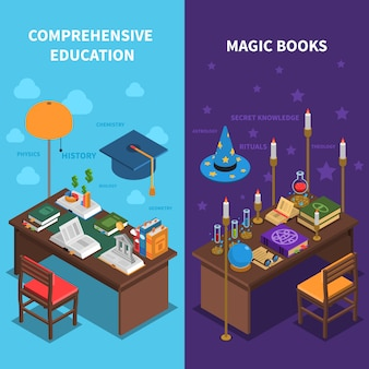 Ensemble de bannières de livres et d'éducation