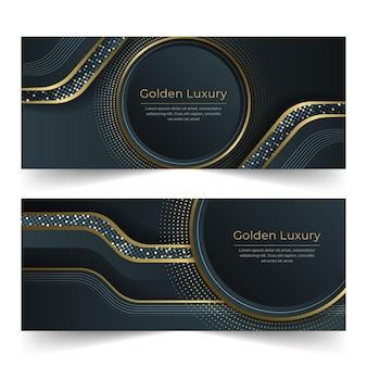 Ensemble de bannières de luxe doré dégradé