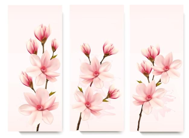 Ensemble de bannières de magnolia fleur nature. vecteur.