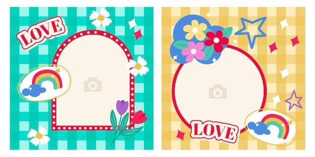 Ensemble de bannières de médias sociaux post spring conception de bannières