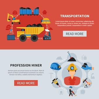 Ensemble de bannières minières