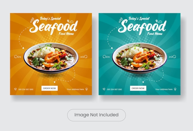 Ensemble de bannières de modèles de publication de médias sociaux de menu de fruits de mer