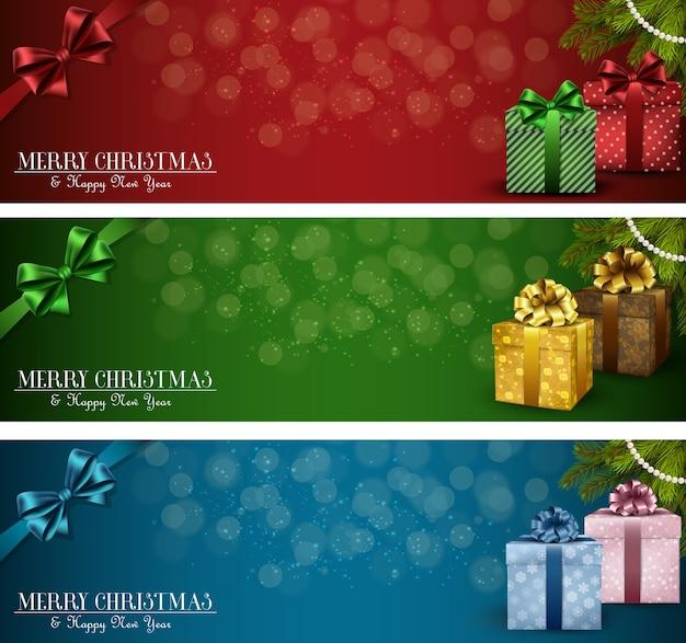 Ensemble de bannières de noël d'hiver avec des boîtes-cadeaux et ruban