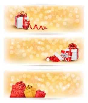 Ensemble de bannières de noël de vacances avec coffrets cadeaux et ruban