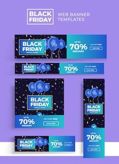 Ensemble de bannières noir vendredi vente web set.