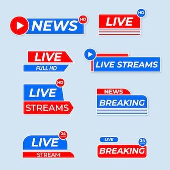 Ensemble de bannières de nouvelles en direct