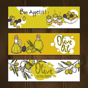 Ensemble de bannières d'olives