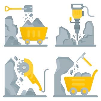 Ensemble de bannières d'outils pour travailler dans la mine.