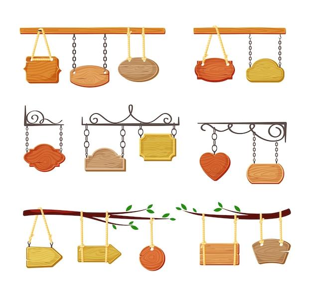 Ensemble de bannières de panneaux en bois suspendus