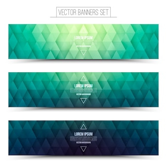Ensemble de bannières panoramiques de couleur verte graphique