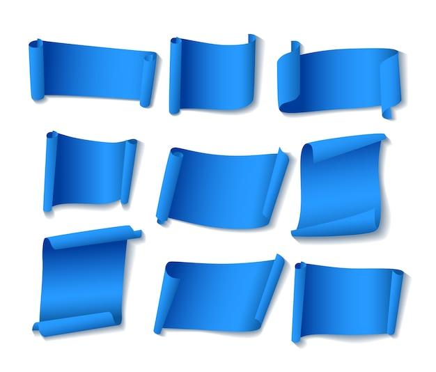 Ensemble de bannières en papier bleu