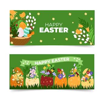 Ensemble de bannières de pâques dessinés à la main
