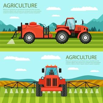 Ensemble de bannières plat horizontal agriculture et élevage