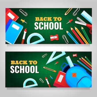 Ensemble de bannières plat retour à l'école