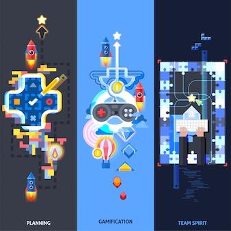 Ensemble de bannières plates d'éléments de gamification