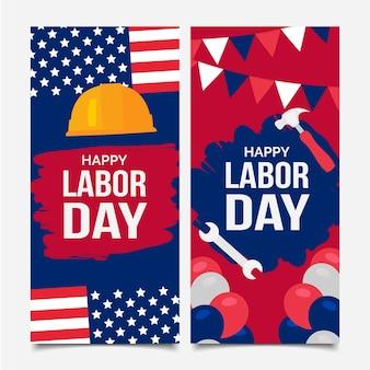 Ensemble de bannières plates pour la fête du travail des états-unis