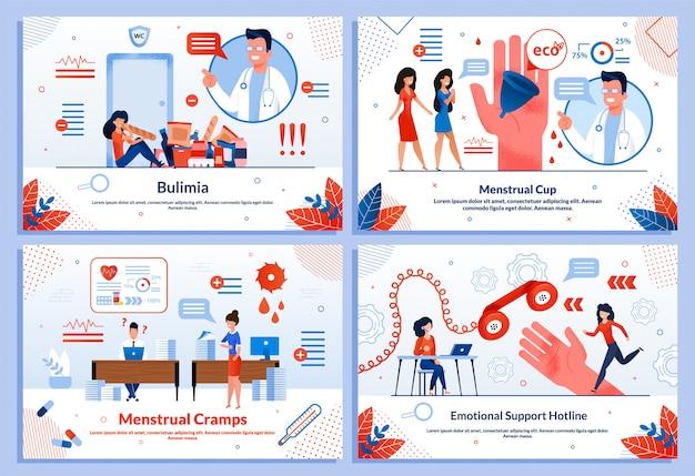 Ensemble de bannières plates service de santé en ligne pour femmes