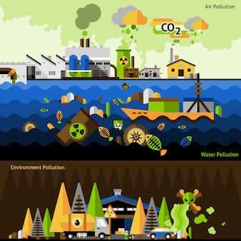 Ensemble de bannières de pollution
